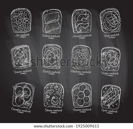 Chalkboard illustration of assorted sandwiches with berries, fruits and vegetables, meat and seafood.