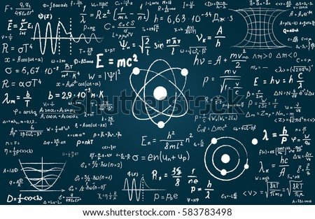 Chalkboard inscribed with scientific formulas and calculations in physics and mathematics. Vector illustration