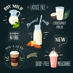 Chalkboard lactose-free milk beverages ADs set. Lactose intolerance. Stylish template. Vector illustration.