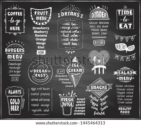chalkboard menu for cafe or