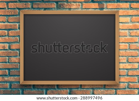 Chalkboard on brick wall.vector Foto d'archivio ©