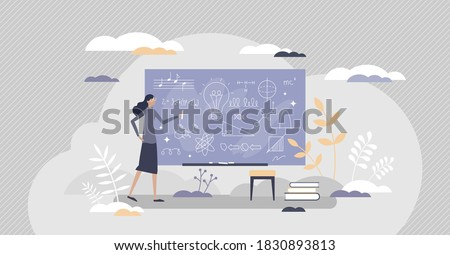 Chalkboard or blackboard with teacher writing scribble as explanation notes tiny person concept. School lesson education and knowledge process with math, physics or music learning vector illustration. Сток-фото ©