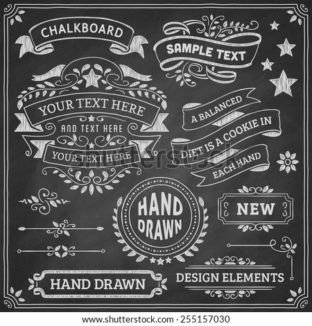 Chalkboard ornaments and ribbons. Vector format.