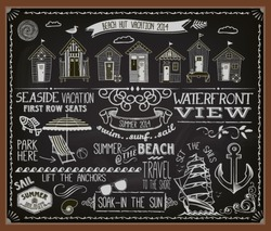 Chalkboard Poster Beach Huts - Blackboard advertisement for summer holidays with tiny houses, banners, labels, swirls and decorative chalk typography