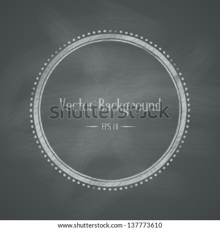 Chalkboard retro background with round frame. Vector illustration
