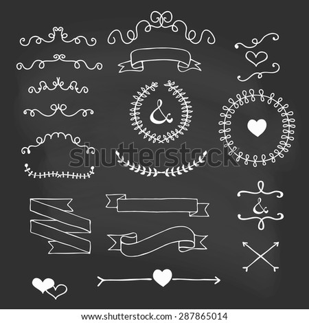 Chalkboard Ribbons and laurels cute cartoon handmade vector illustration in candy colors wedding graphic set