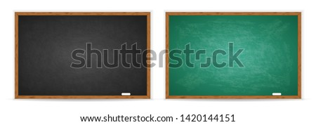 Chalkboard set. Realistic black and green blackboard in wooden frame isolated on whit background. Blackboard collection. Rubbed out dirty chalkboard. Background for school or restaurant design, menu