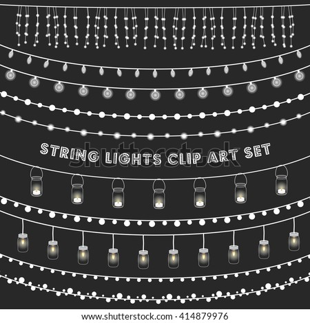 Chalkboard String Lights Set - Set of glowing string lights on a chalkboard grey background. EPS 10 with transparency.