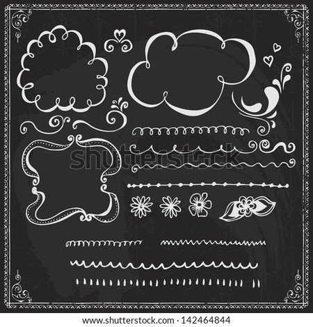 Chalkboard Style Hand Drawn Doodle Frames and Design Elements