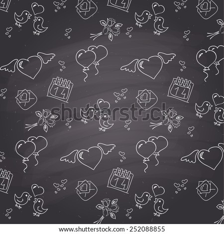 Chalkboard style valentines day  pattern