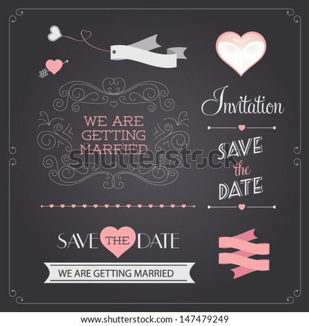 Chalkboard style wedding design and decorative elements, vintage banner, ribbon, labels, frames, badge, stickers. Vector love element.  #147479249
