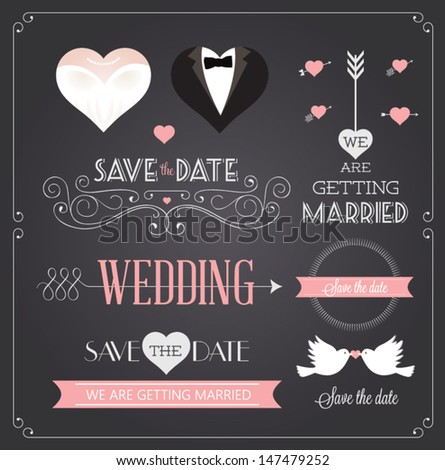 Chalkboard style wedding design and decorative elements, vintage banner, ribbon, labels, frames, badge, stickers. Vector love element.  #147479252