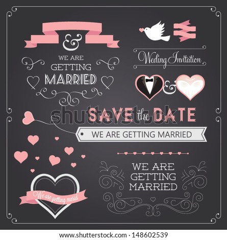 Chalkboard style wedding design and decorative elements vintage banner ribbon labels frames badge stickers Vector love element