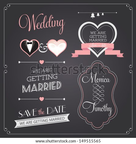 Chalkboard style wedding design and decorative elements, vintage banner, ribbon, labels, frames, badge, stickers. Vector love element. #149515565