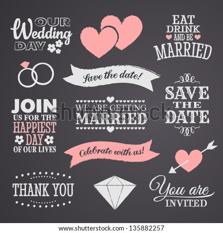 Chalkboard style wedding design elements. #135882257
