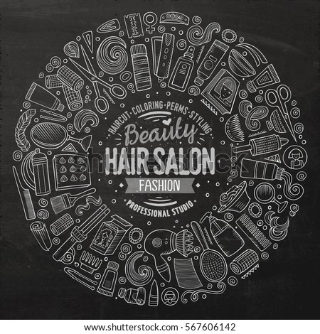 Chalkboard vector hand drawn set of Hair salon cartoon doodle objects, symbols and items. Round frame composition