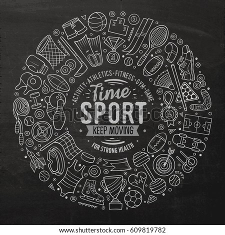 Chalkboard vector hand drawn set of Sport cartoon doodle objects, symbols and items. Round frame composition