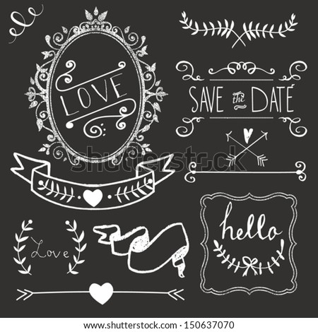 Chalkboard Wedding graphic set, borders, arrows, hearts, laurel, wreaths, ribbons and labels