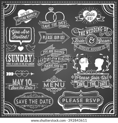 Chalkboard Wedding Invitation Elements - Retro, hand-drawn vintage chalkboard  elements.  File is layered, each object is grouped separately; colors global for easy editing.  Texture can be removed.