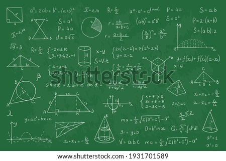 Chalkboard with math equation. Realistic chalked numbers and graphs on green blackboard. Handwritten formulas or functions and geometric shapes, solving mathematical tasks. Vector education background