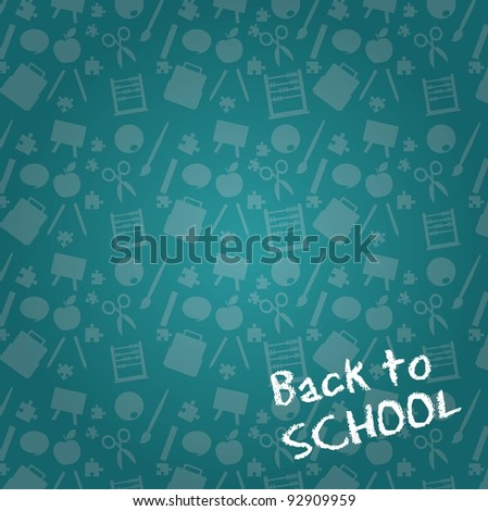 chalkboard with silhouette ,back to school background. vector illustration