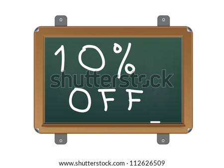 chalkboard with text 10 percent off