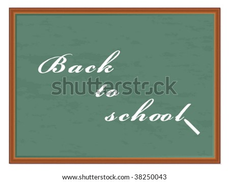 Chalkboard with the notice (back to school) and chalk. Vector illustration.