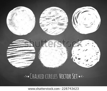 Chalked circles. Vector illustration.