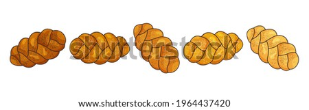 Challah vector icon. Holiday jewish braided loaf set, shabbat bread isolated on white background. Food illustration Stok fotoğraf ©