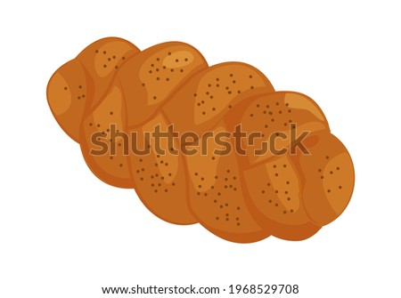 Challah vector icon. Holiday jewish braided loaf, shabbat bread isolated on white background. Food illustration Stok fotoğraf ©