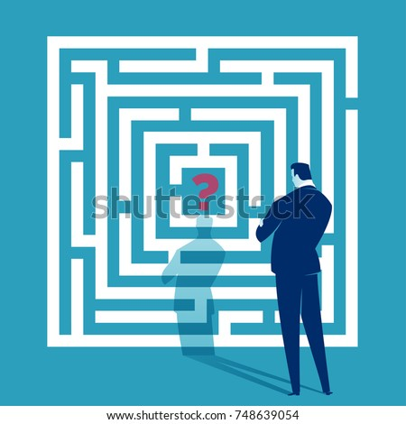 Challenge. Businessman looking at white labyrinth. Business concept illustration