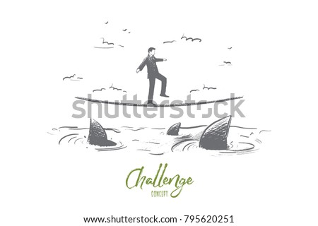 Challenge concept. Hand drawn businessman walking on rope above ocean with sharks. Risks and difficulties in business. isolated vector illustration.
