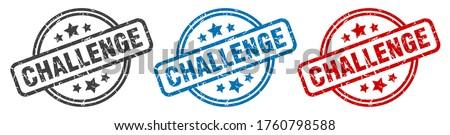 challenge stamp. challenge round isolated sign. challenge label set