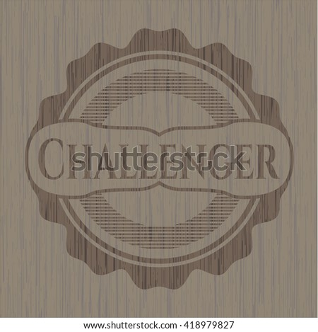 Challenger badge with wooden background