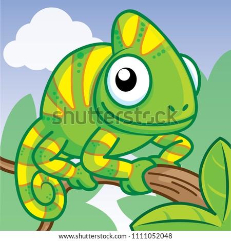 chameleon cartoon  cute cartoon