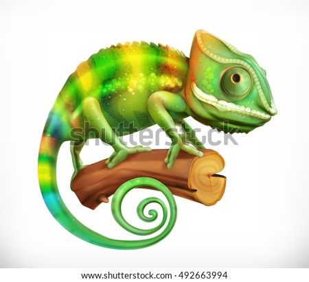chameleon 3d vector icon