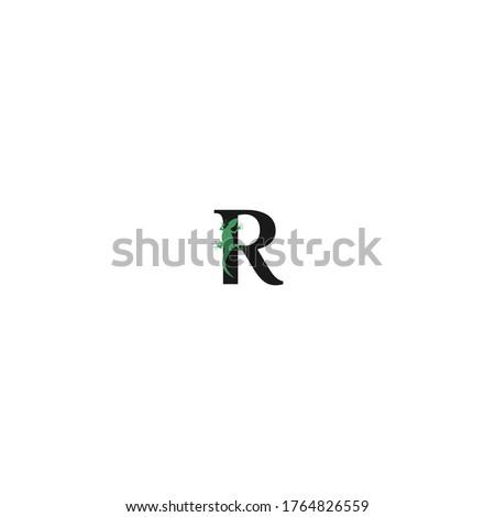chameleon logo initial R vector illustration template  Stock fotó ©