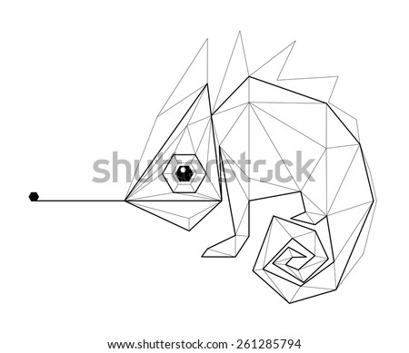 chameleon low polygon linear