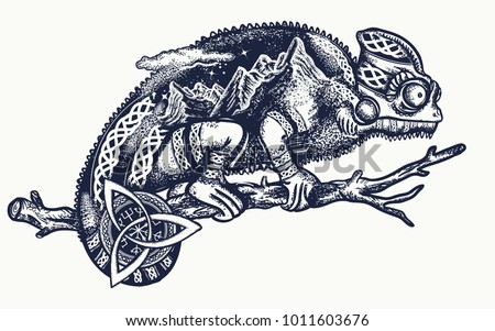 chameleon tattoo and t shirt
