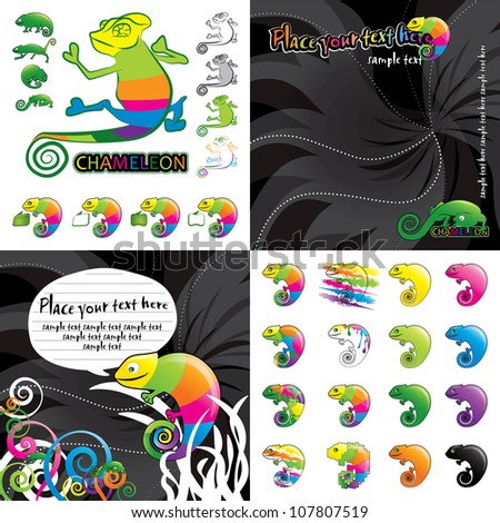 Chameleon vector colorful illustration