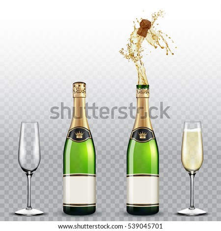 Champagne bottle and champagne glasses