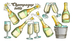 Champagne Bottle And Glass Color Set Vector. Collection Of Sparkling Winery Alcoholic Champagne And Glassware. Beverage Engraving Template Designed In Vintage Style Illustrations