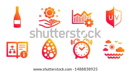 Champagne bottle, Employee hand and Technical algorithm line icons set. Uv protection, Alarm clock and Artificial colors signs. Operational excellence, Travel sea symbols. Vector