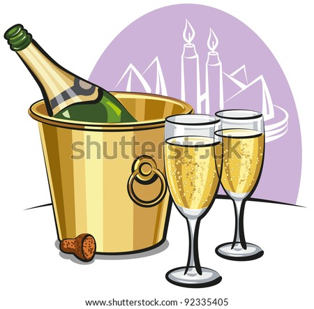 Champagne bottle in an ice bucket and two champagne glasses