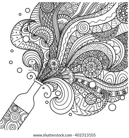 champagne bottle line art