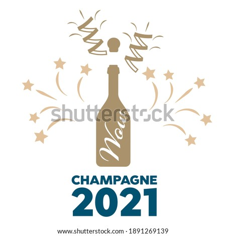 Champagne bottle vector explosion. Toast vector champagne glasses icon Stock photo ©