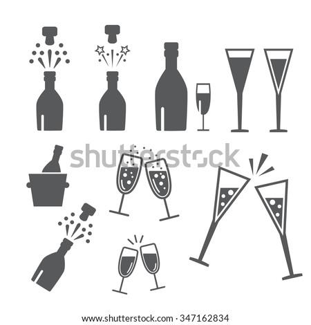 Champagne celebration. Open champagne bottle