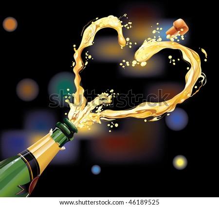 Champagne exploding for celebration