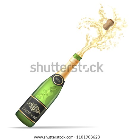 Champagne explosion. Champagne bottle pop and fizz vector illustration for alcohol drinking party celebration isolated on white background