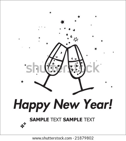 Champagne flutes making a toast. Happy New Year Card.